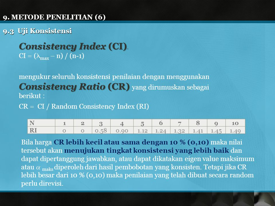 9.METODE PENELITIAN (6) 9.3 Uji Konsistensi Consistency Index (CI) Consistency Index (CI).