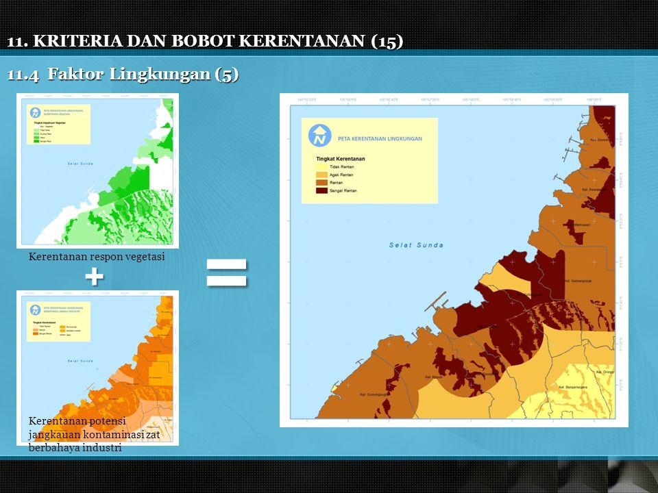 11. KRITERIA DAN BOBOT KERENTANAN (15) 11.4 Faktor Lingkungan (5) Kerentanan respon vegetasi Kerentanan potensi jangkauan kontaminasi zat berbahaya in