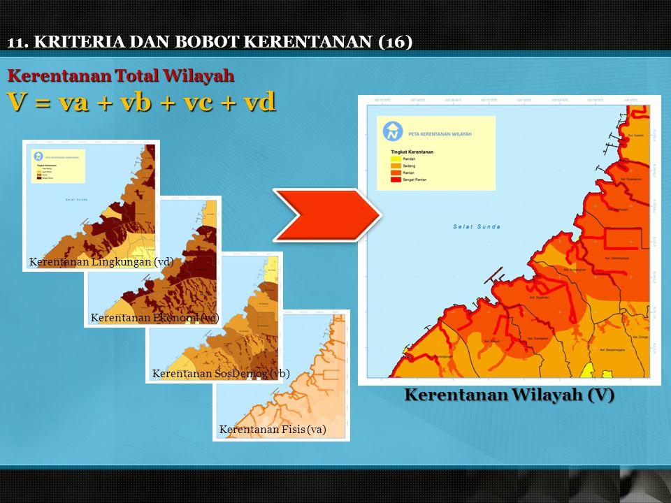 11. KRITERIA DAN BOBOT KERENTANAN (16) Kerentanan Total Wilayah V = va + vb + vc + vd Kerentanan Lingkungan (vd) Kerentanan Ekonomi (vc) Kerentanan So