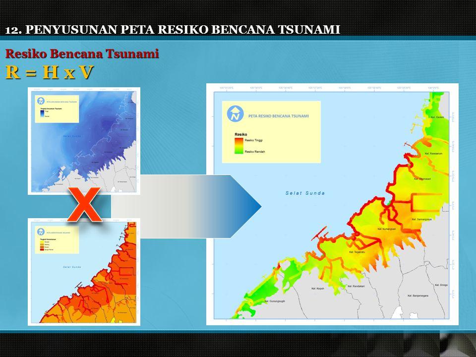 12. PENYUSUNAN PETA RESIKO BENCANA TSUNAMI Resiko Bencana Tsunami R = H x V