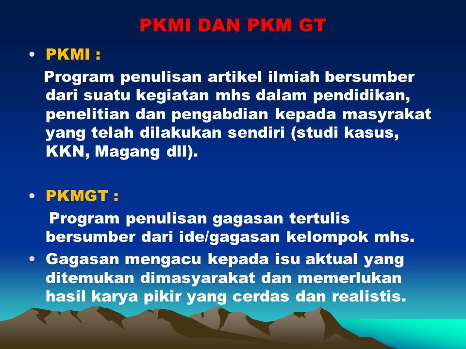 PKM GT sebagai salah satu pkm yang ditampilkan dalam Pimnas (Tata tertib dan sesuatu yg terkait dalam persyaratan presentasi diatur tersendiri).