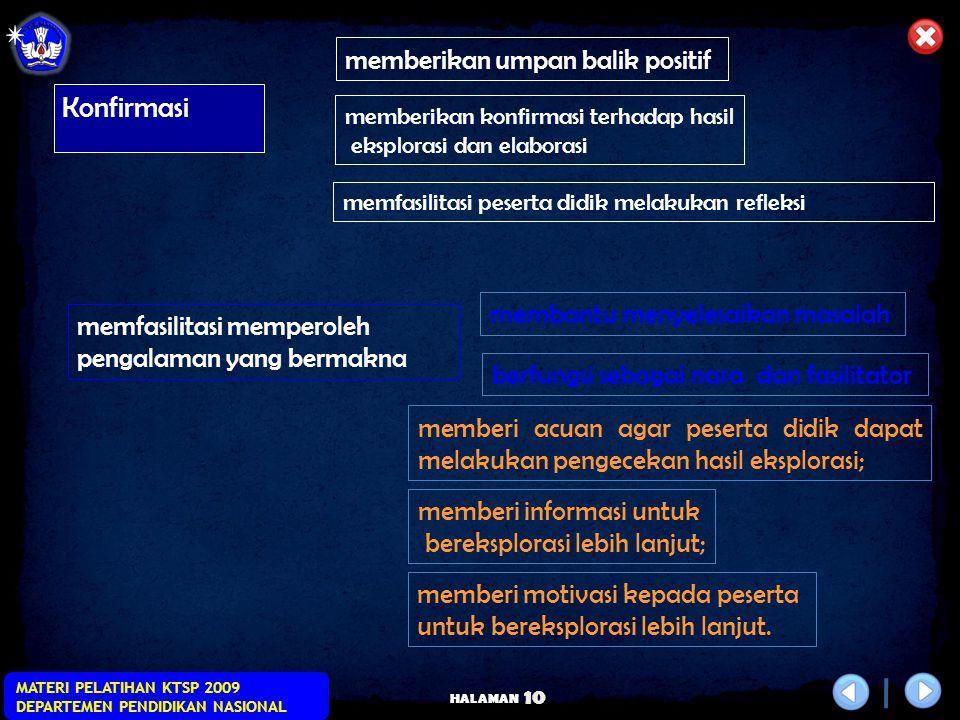 HALAMAN MATERI PELATIHAN KTSP 2009 DEPARTEMEN PENDIDIKAN NASIONAL 9 Elaborasi KEGIATAN INTI Elaborasi lanjutan... memfasilitasi peserta didik dalam pe
