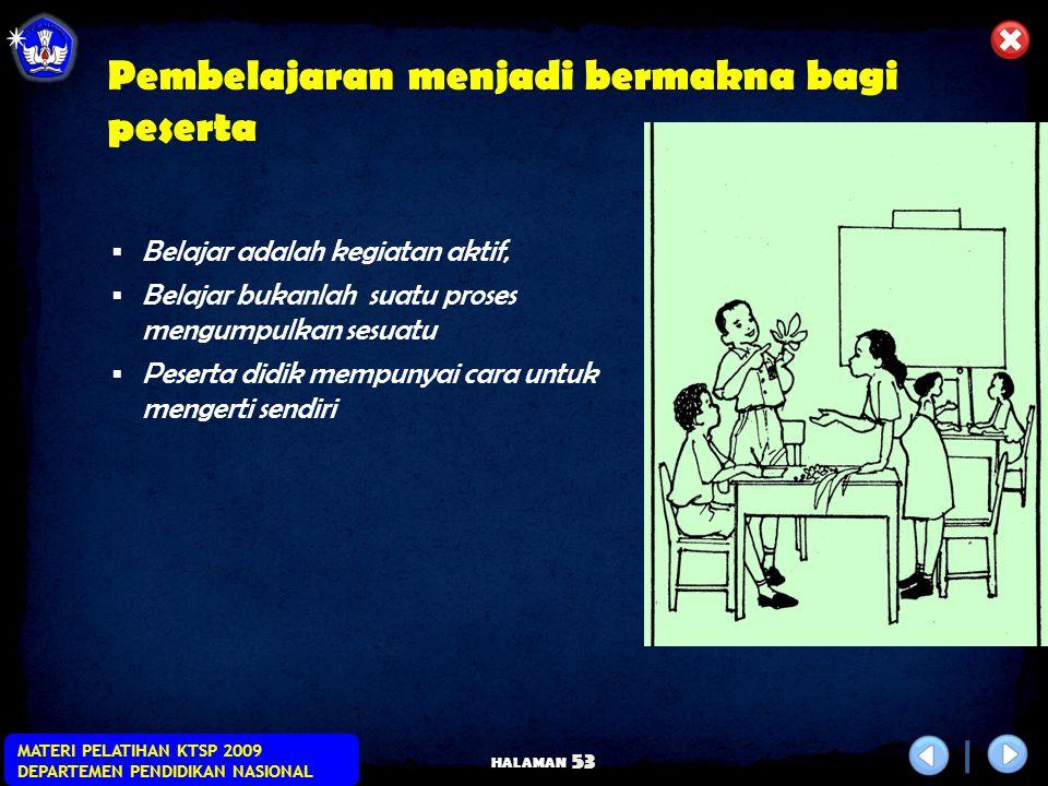HALAMAN MATERI PELATIHAN KTSP 2009 DEPARTEMEN PENDIDIKAN NASIONAL 52 Contextual Teaching and Learning (CTL)  keterlibatan penuh pembelajar,  adanya
