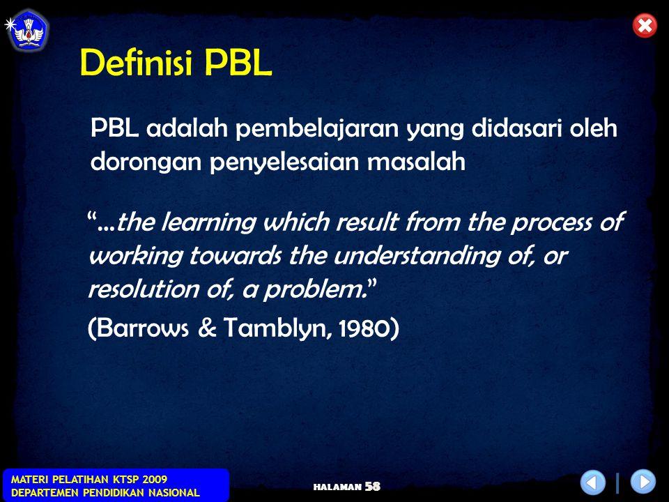 HALAMAN MATERI PELATIHAN KTSP 2009 DEPARTEMEN PENDIDIKAN NASIONAL 57 Definisi PBL Belajar merupakan pemahaman dari proses kerja sebagai bagian dari pe