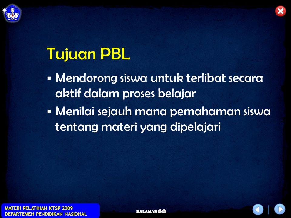 HALAMAN MATERI PELATIHAN KTSP 2009 DEPARTEMEN PENDIDIKAN NASIONAL 59 Prinsip Dasar  Pembelajaran berangkat dari adanya masalah (soal, pertanyaan, dsb