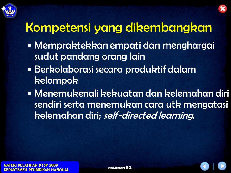HALAMAN MATERI PELATIHAN KTSP 2009 DEPARTEMEN PENDIDIKAN NASIONAL 61 Kompetensi yang dikembangkan  Beradaptasi dan berpartisipasi dlm perubahan  Men