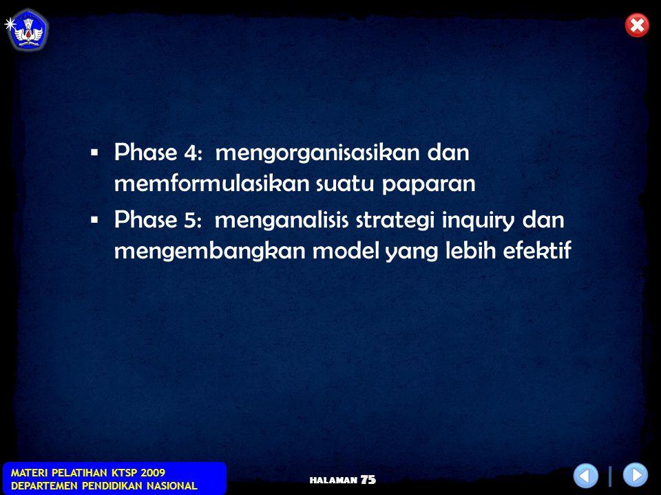 HALAMAN MATERI PELATIHAN KTSP 2009 DEPARTEMEN PENDIDIKAN NASIONAL 74 Langkah Pembelajaran  Phase 1 ; Mengidentifikasi Masalah  Phase 2 : Mengumpulka