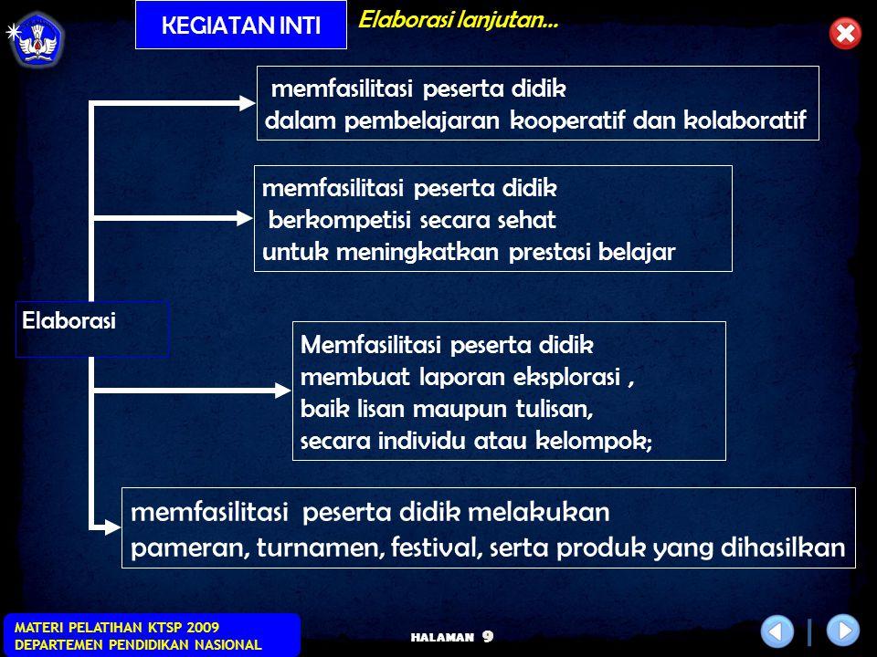 HALAMAN MATERI PELATIHAN KTSP 2009 DEPARTEMEN PENDIDIKAN NASIONAL 8 Pelaksanaan Proses Pembelajaranlanjutan… KEGIATAN INTI Eksplorasi Elaborasi Konfir