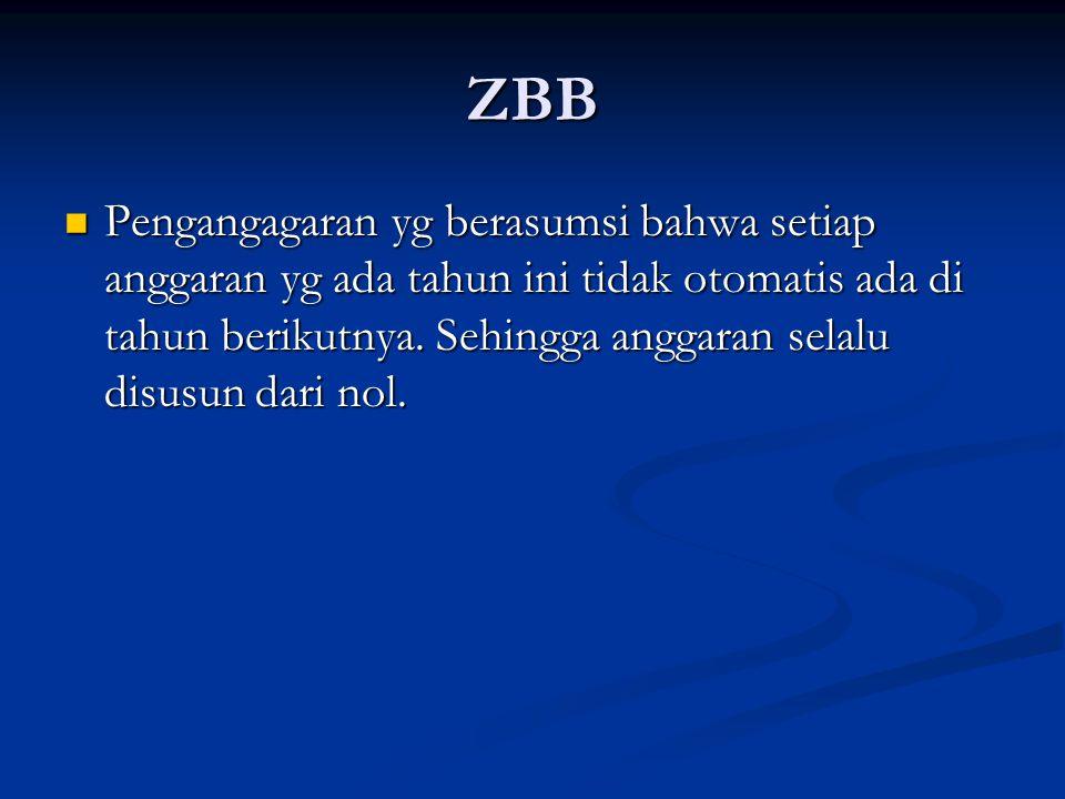 ZBB Pengangagaran yg berasumsi bahwa setiap anggaran yg ada tahun ini tidak otomatis ada di tahun berikutnya. Sehingga anggaran selalu disusun dari no