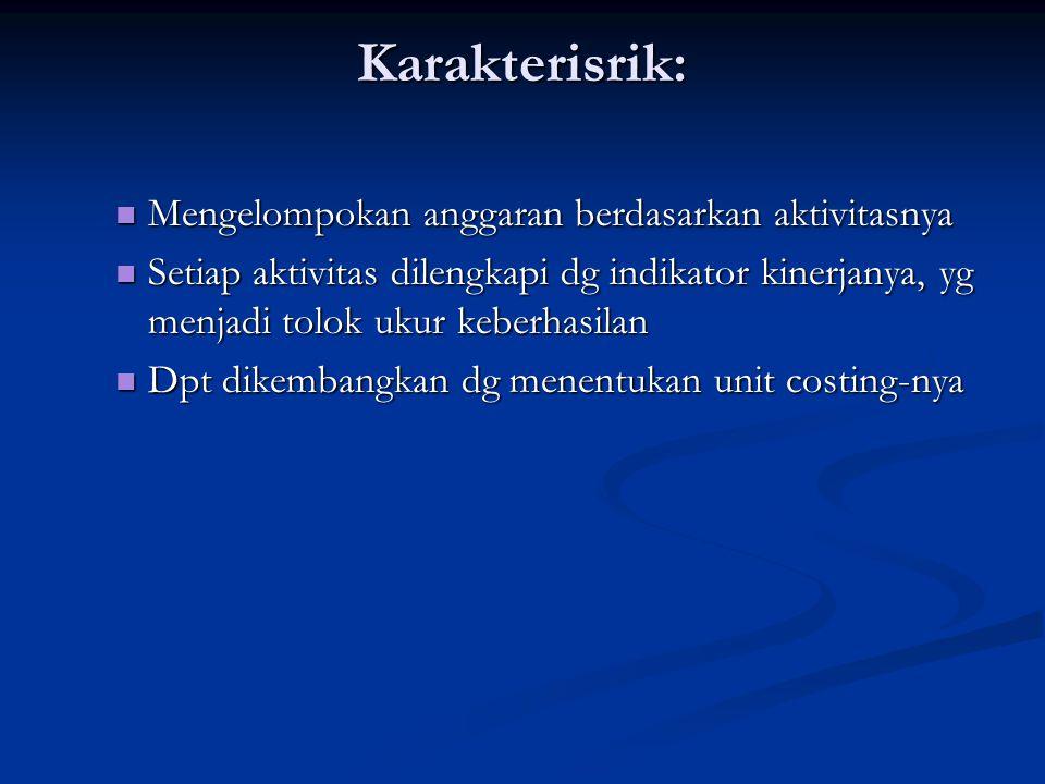 Karakterisrik: Mengelompokan anggaran berdasarkan aktivitasnya Mengelompokan anggaran berdasarkan aktivitasnya Setiap aktivitas dilengkapi dg indikato