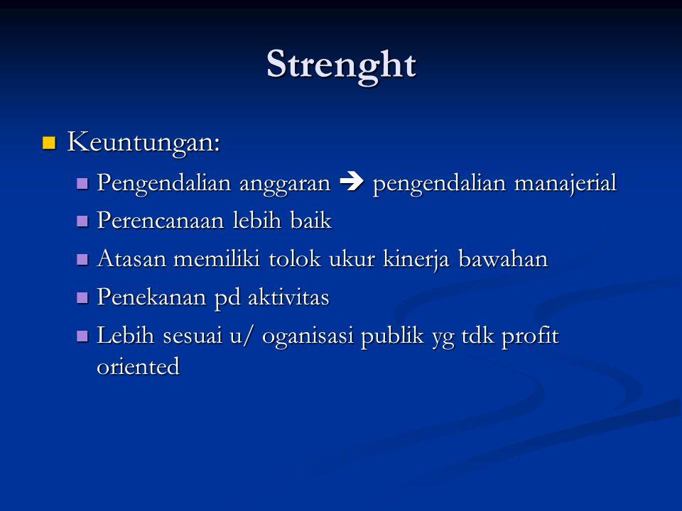 Strenght Keuntungan: Keuntungan: Pengendalian anggaran  pengendalian manajerial Pengendalian anggaran  pengendalian manajerial Perencanaan lebih bai