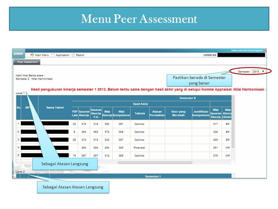Menu Peer Assessment Pastikan berada di Semester yang benar Sebagai Atasan Langsung Sebagai Atasan Atasan Langsung