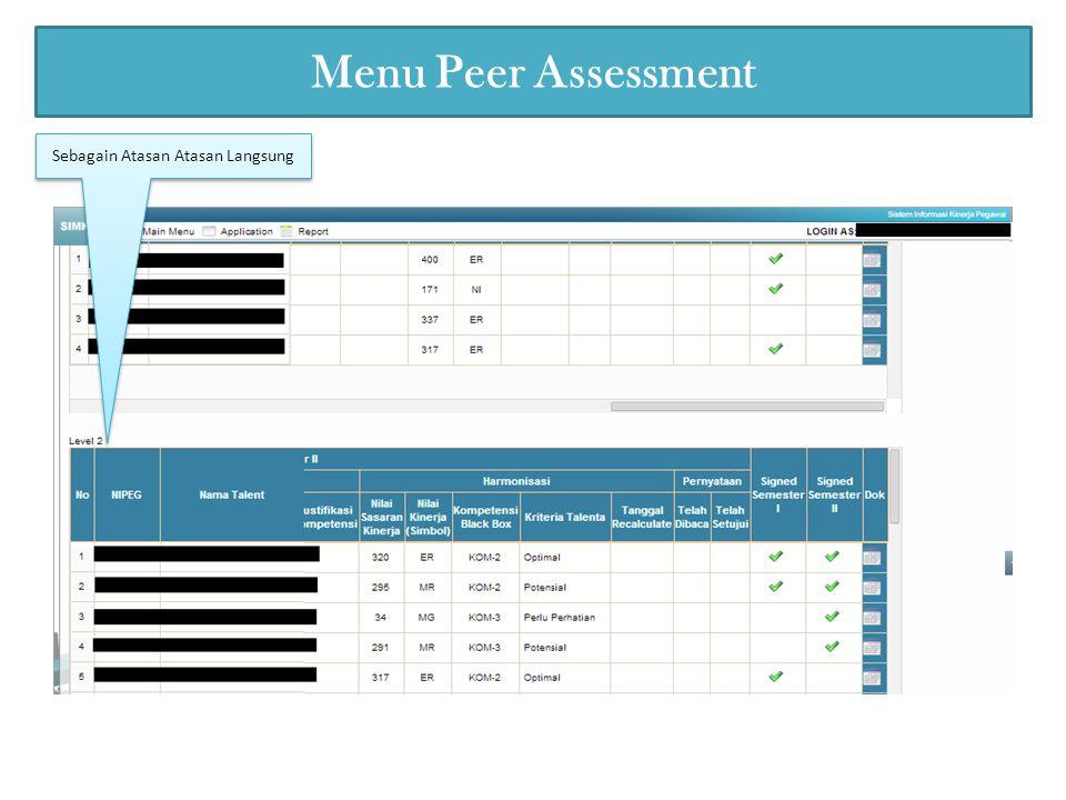 Menu Peer Assessment Sebagain Atasan Atasan Langsung