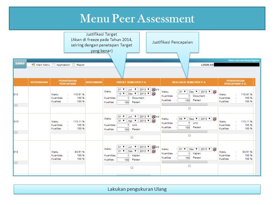 Menu Peer Assessment Justifikasi Pencapaian Justifikasi Target (Akan di freeze pada Tahun 2014, seiring dengan penetapan Target yang benar) Justifikasi Target (Akan di freeze pada Tahun 2014, seiring dengan penetapan Target yang benar) Lakukan pengukuran Ulang