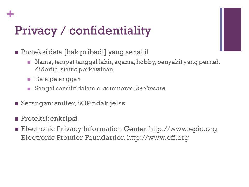 + Privacy / confidentiality Proteksi data [hak pribadi] yang sensitif Nama, tempat tanggal lahir, agama, hobby, penyakit yang pernah diderita, status