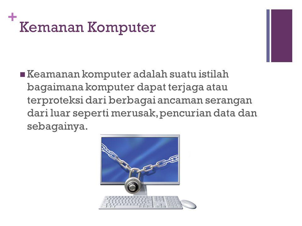+ Kemanan Komputer Keamanan komputer adalah suatu istilah bagaimana komputer dapat terjaga atau terproteksi dari berbagai ancaman serangan dari luar s