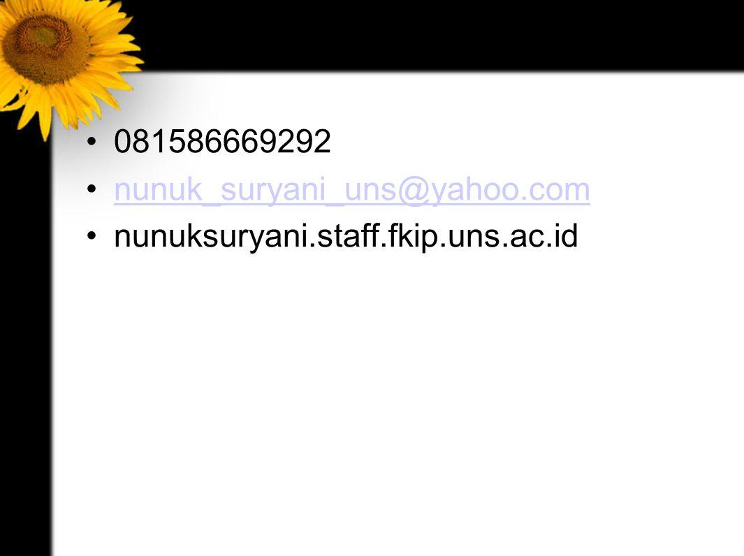 081586669292 nunuk_suryani_uns@yahoo.com nunuksuryani.staff.fkip.uns.ac.id