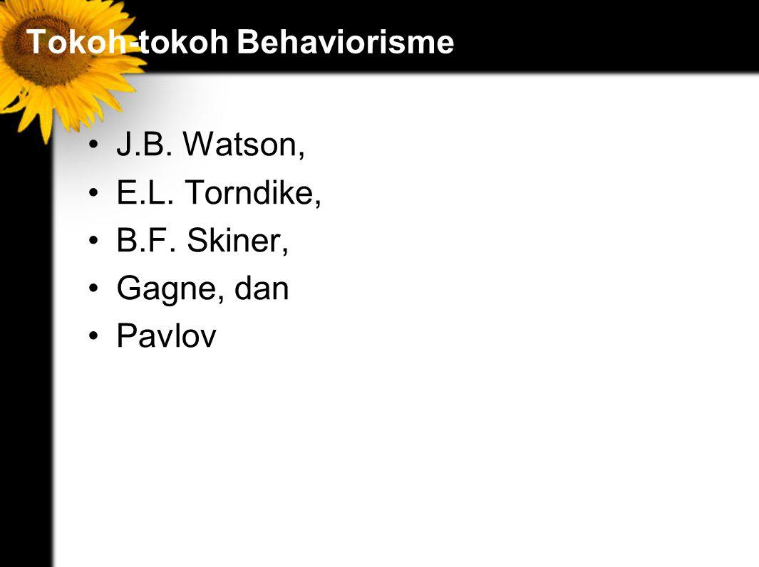 Tokoh-tokoh Behaviorisme J.B. Watson, E.L. Torndike, B.F. Skiner, Gagne, dan Pavlov