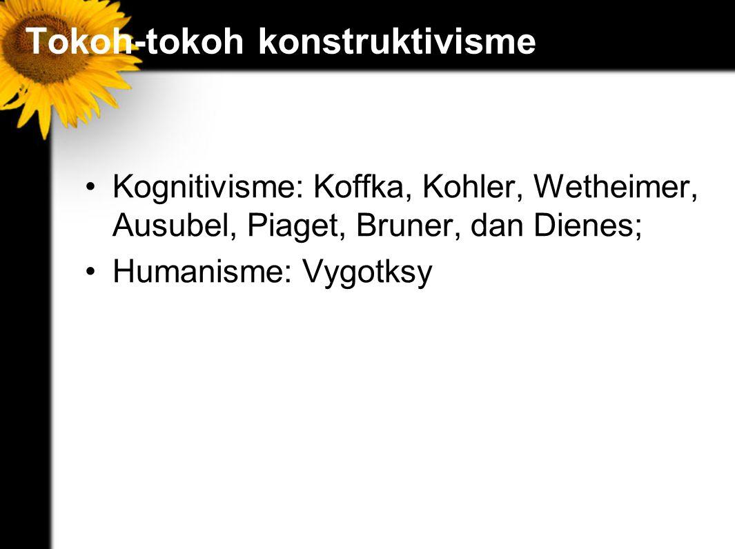 Tokoh-tokoh konstruktivisme Kognitivisme: Koffka, Kohler, Wetheimer, Ausubel, Piaget, Bruner, dan Dienes; Humanisme: Vygotksy