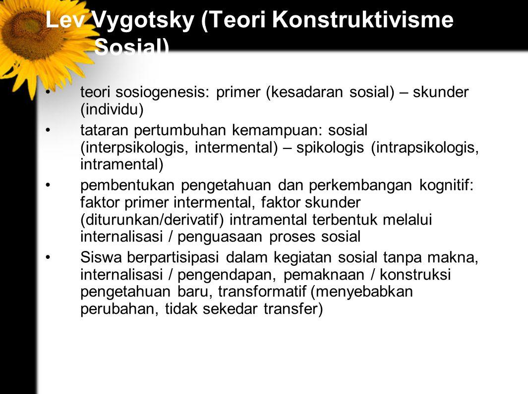 Lev Vygotsky (Teori Konstruktivisme Sosial) teori sosiogenesis: primer (kesadaran sosial) – skunder (individu) tataran pertumbuhan kemampuan: sosial (interpsikologis, intermental) – spikologis (intrapsikologis, intramental) pembentukan pengetahuan dan perkembangan kognitif: faktor primer intermental, faktor skunder (diturunkan/derivatif) intramental terbentuk melalui internalisasi / penguasaan proses sosial Siswa berpartisipasi dalam kegiatan sosial tanpa makna, internalisasi / pengendapan, pemaknaan / konstruksi pengetahuan baru, transformatif (menyebabkan perubahan, tidak sekedar transfer)