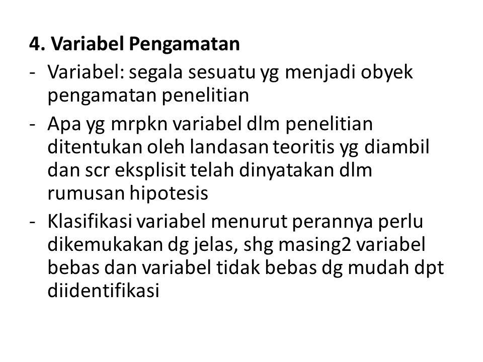 4. Variabel Pengamatan -Variabel: segala sesuatu yg menjadi obyek pengamatan penelitian -Apa yg mrpkn variabel dlm penelitian ditentukan oleh landasan