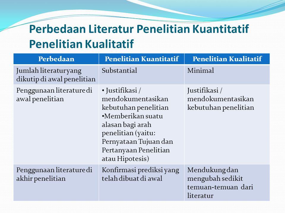 Perbedaan Literatur Penelitian Kuantitatif Penelitian Kualitatif PerbedaanPenelitian KuantitatifPenelitian Kualitatif Jumlah literatur yang dikutip di