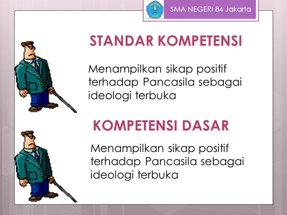 Tujuan Pembelajaran  Menjelaskan kedudukan Pancasila sebagai dasar dan ideologi negara  Mendeskripsikan proses perumusan Pancasila  Menjelaskan pengertian Pancasila sebagai ideologi terbuka SMA NEGERI 84 Jakarta