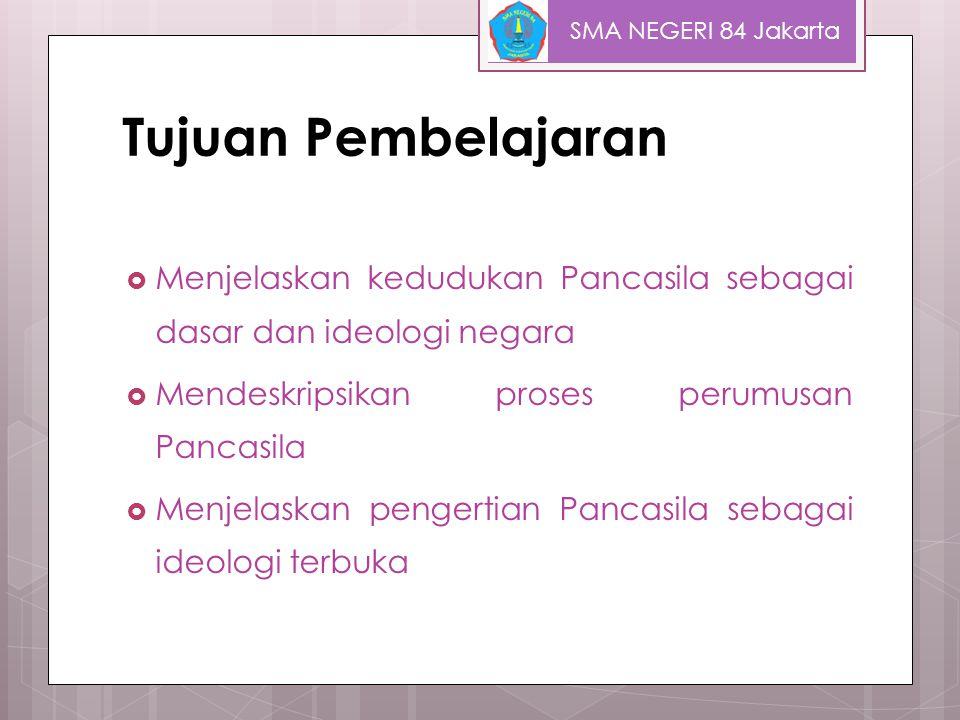 Hakikat dan Fungsi Ideologi Struktur Kognitif Orientasi dasar pembuka wawasan Norma-norma pedoman Bekal dan jalan menemukan identitas Kekuatan untuk menyemangati seseorang Pendidikan bagi seseorang atau masyarakat SMA NEGERI 84 Jakarta