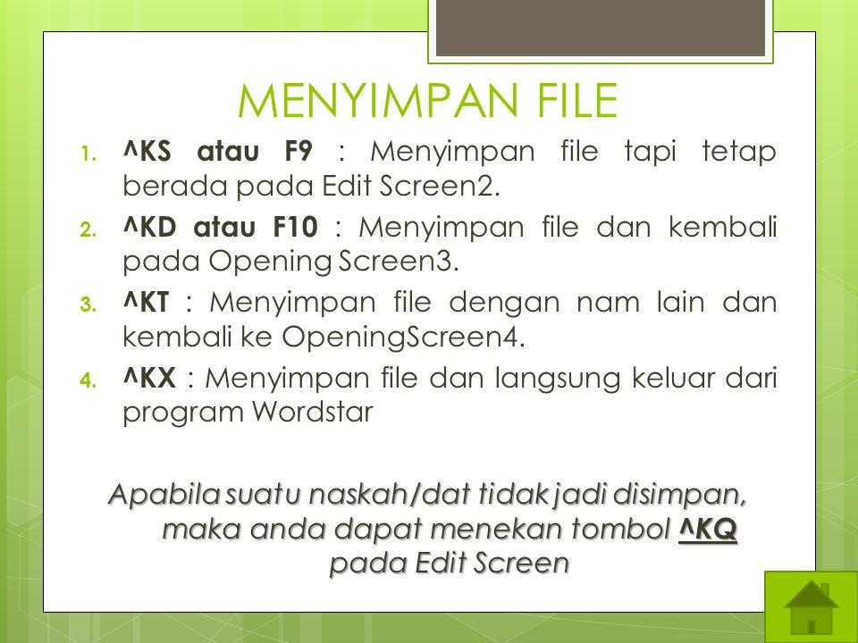KELUAR APLIKASI WS 1. Pilih File dengan menekan huruf F 2. Pilih Exit (tekan huruf X)