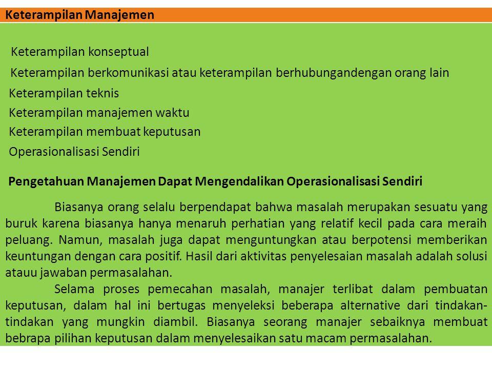 Keterampilan Manajemen Operasionalisasi Sendiri Keterampilan konseptual Keterampilan berkomunikasi atau keterampilan berhubungandengan orang lain Kete
