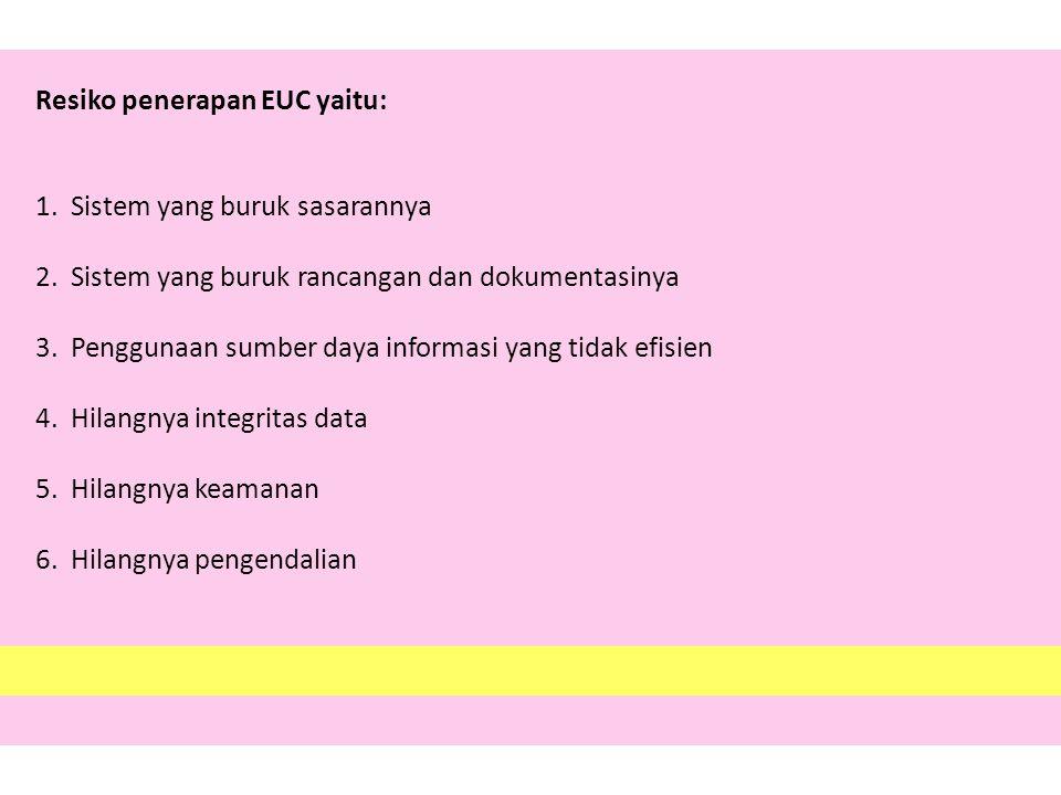 Resiko penerapan EUC yaitu: 1. Sistem yang buruk sasarannya 2. Sistem yang buruk rancangan dan dokumentasinya 3. Penggunaan sumber daya informasi yang