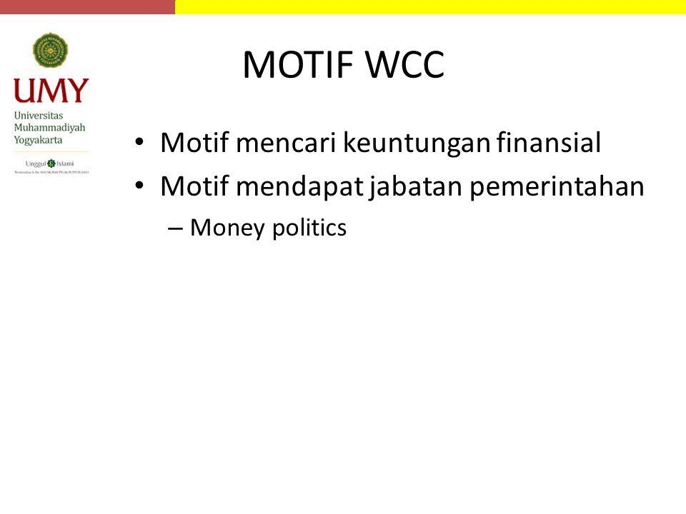 MOTIF WCC Motif mencari keuntungan finansial Motif mendapat jabatan pemerintahan – Money politics