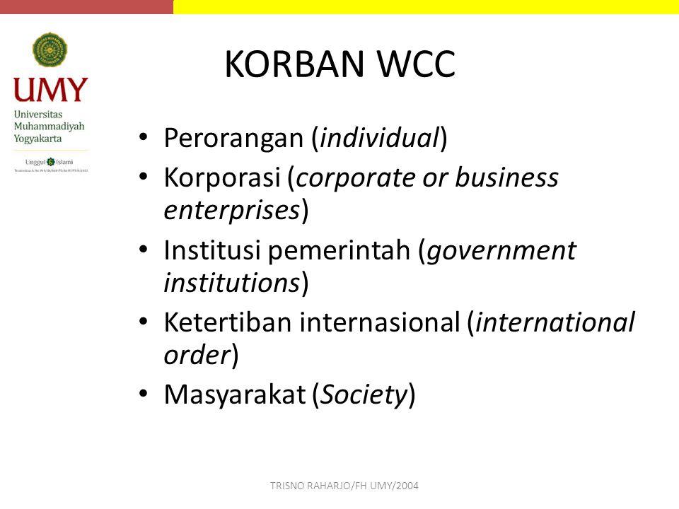 KORBAN WCC Perorangan (individual) Korporasi (corporate or business enterprises) Institusi pemerintah (government institutions) Ketertiban internasion