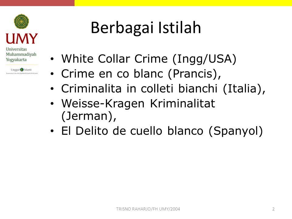 Berbagai Istilah White Collar Crime (Ingg/USA) Crime en co blanc (Prancis), Criminalita in colleti bianchi (Italia), Weisse-Kragen Kriminalitat (Jerma