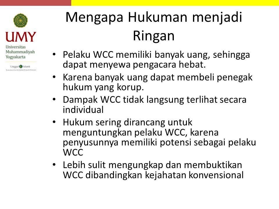 Mengapa Hukuman menjadi Ringan Pelaku WCC memiliki banyak uang, sehingga dapat menyewa pengacara hebat. Karena banyak uang dapat membeli penegak hukum