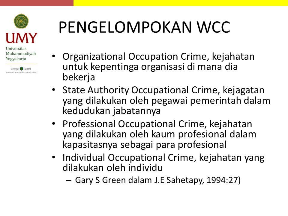 PENGELOMPOKAN WCC Organizational Occupation Crime, kejahatan untuk kepentinga organisasi di mana dia bekerja State Authority Occupational Crime, kejag