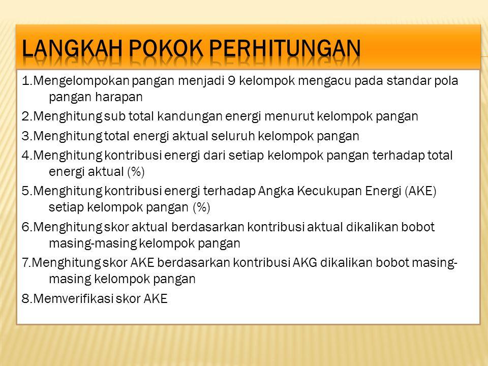 1.Mengelompokan pangan menjadi 9 kelompok mengacu pada standar pola pangan harapan 2.Menghitung sub total kandungan energi menurut kelompok pangan 3.M