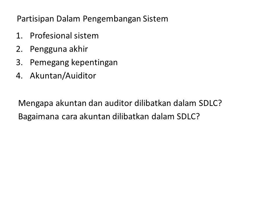 Partisipan Dalam Pengembangan Sistem 1.Profesional sistem 2.Pengguna akhir 3.Pemegang kepentingan 4.Akuntan/Auiditor Mengapa akuntan dan auditor dilib