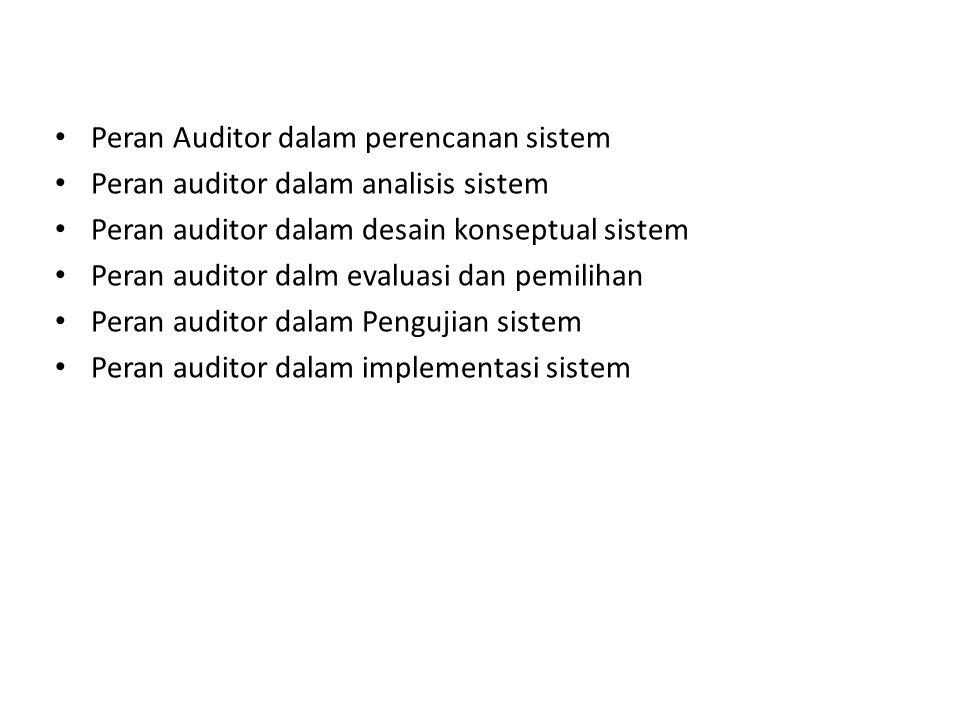Peran Auditor dalam perencanan sistem Peran auditor dalam analisis sistem Peran auditor dalam desain konseptual sistem Peran auditor dalm evaluasi dan