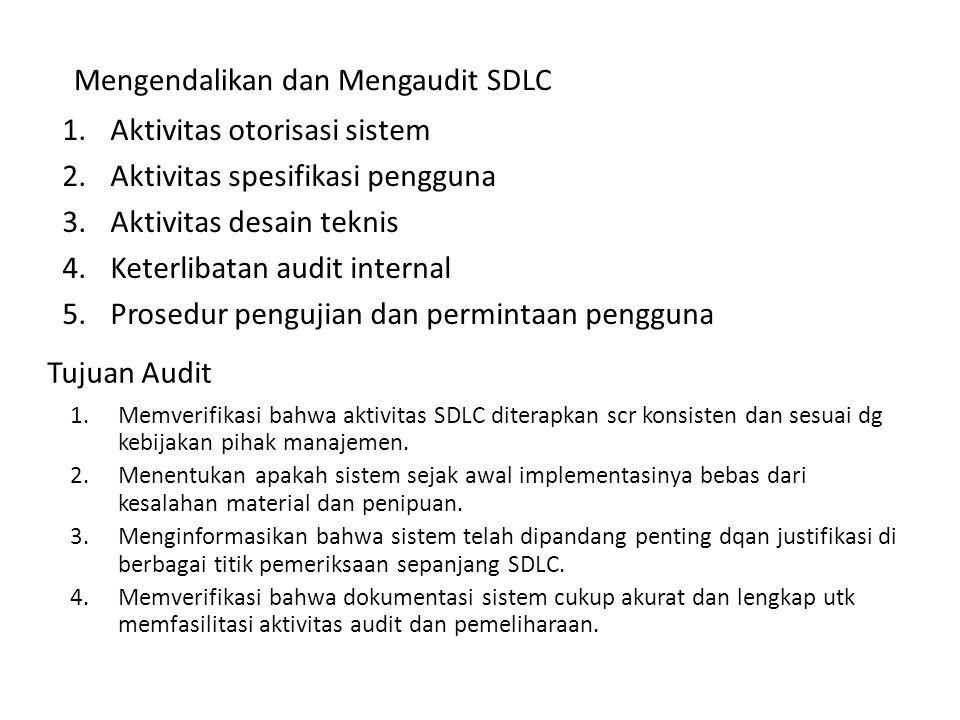 Tujuan Audit 1.Aktivitas otorisasi sistem 2.Aktivitas spesifikasi pengguna 3.Aktivitas desain teknis 4.Keterlibatan audit internal 5.Prosedur pengujia