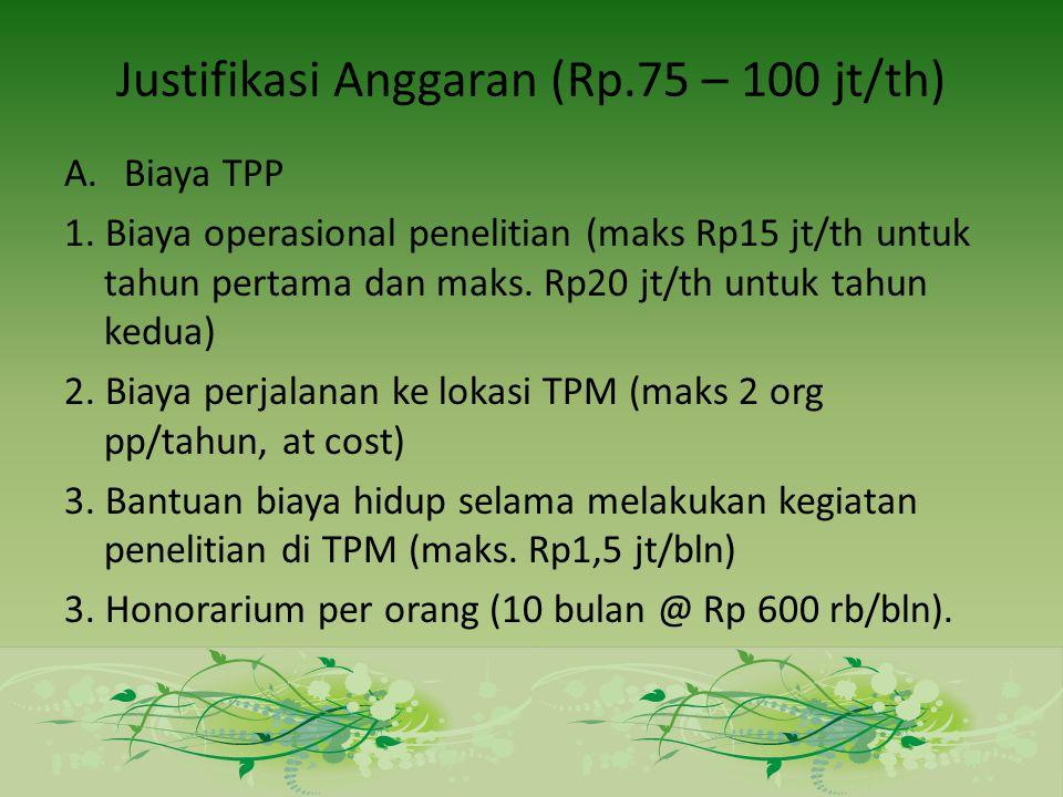 Justifikasi Anggaran (Rp.75 – 100 jt/th) A.Biaya TPP 1.
