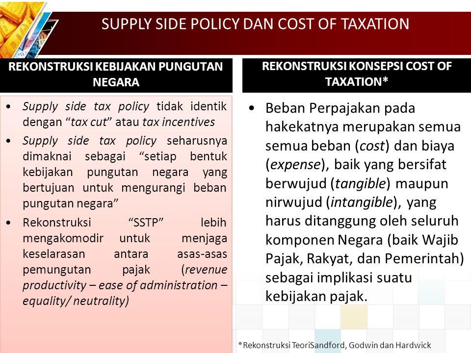 "REKONSTRUKSI KEBIJAKAN PUNGUTAN NEGARA Supply side tax policy tidak identik dengan ""tax cut"" atau tax incentives Supply side tax policy seharusnya dim"