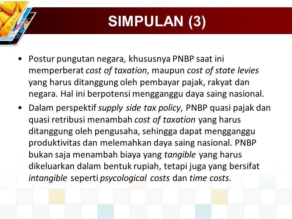 SIMPULAN (3) Postur pungutan negara, khususnya PNBP saat ini memperberat cost of taxation, maupun cost of state levies yang harus ditanggung oleh pemb