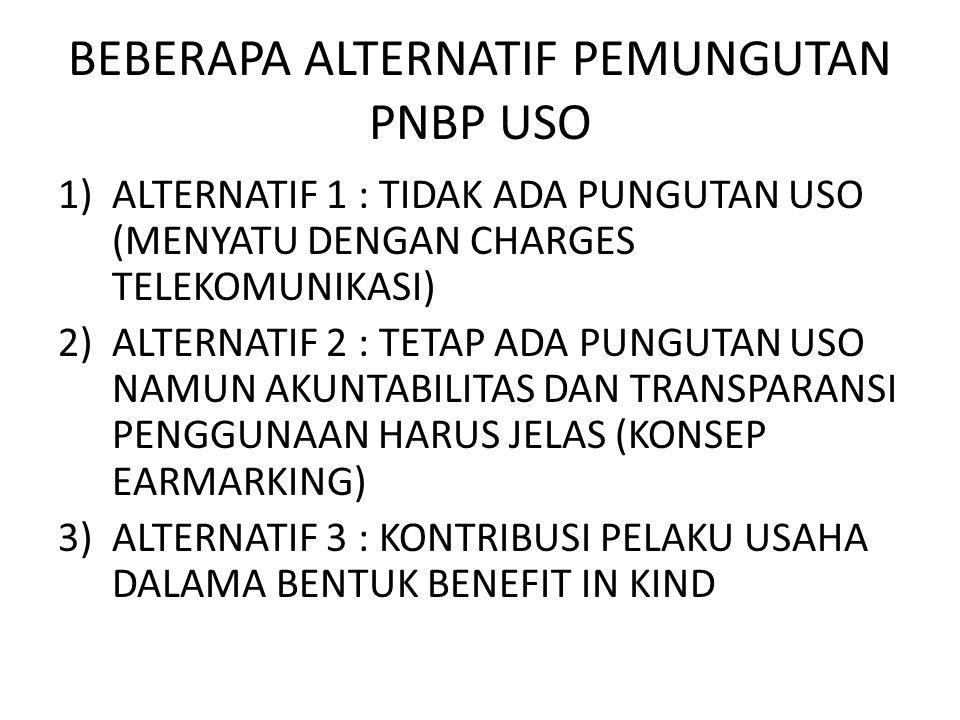 BEBERAPA ALTERNATIF PEMUNGUTAN PNBP USO 1)ALTERNATIF 1 : TIDAK ADA PUNGUTAN USO (MENYATU DENGAN CHARGES TELEKOMUNIKASI) 2)ALTERNATIF 2 : TETAP ADA PUNGUTAN USO NAMUN AKUNTABILITAS DAN TRANSPARANSI PENGGUNAAN HARUS JELAS (KONSEP EARMARKING) 3)ALTERNATIF 3 : KONTRIBUSI PELAKU USAHA DALAMA BENTUK BENEFIT IN KIND