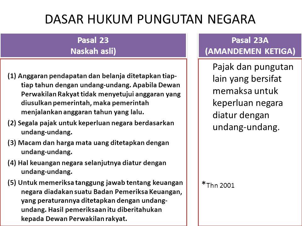 DASAR HUKUM PUNGUTAN NEGARA Pasal 23 Naskah asli) Pasal 23 Naskah asli) (1) Anggaran pendapatan dan belanja ditetapkan tiap- tiap tahun dengan undang-