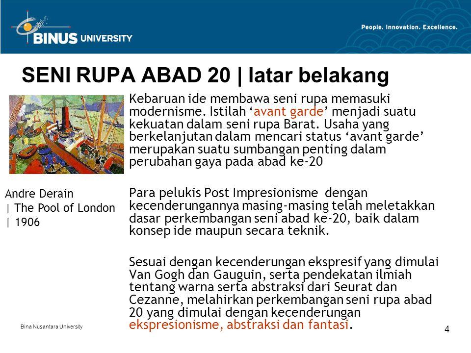 Bina Nusantara University 4 SENI RUPA ABAD 20 | latar belakang Kebaruan ide membawa seni rupa memasuki modernisme.