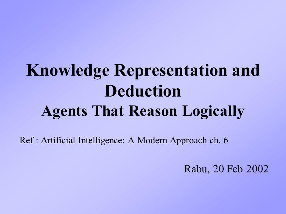 2 Knowledge-Based Agent Problem-solving agent : Menyelesaikan masalah dng.