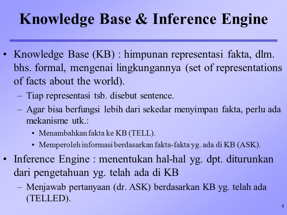 5 Describing Knowledge-Based Agent Knowledge-based agent dpt.