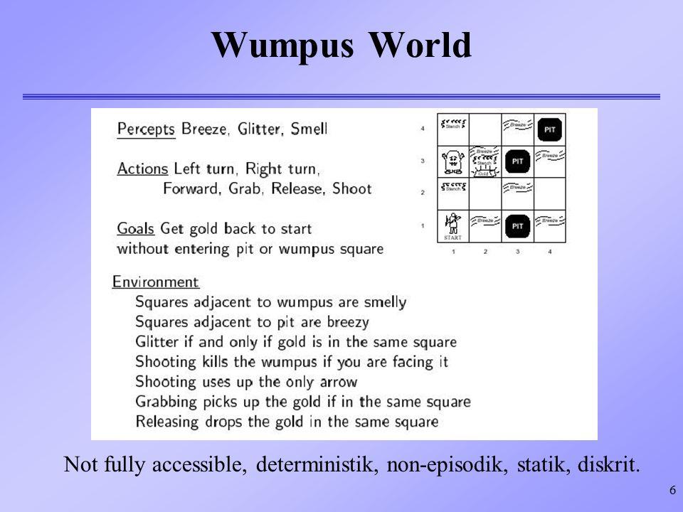 6 Wumpus World Not fully accessible, deterministik, non-episodik, statik, diskrit.