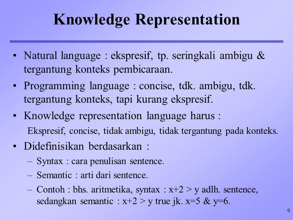 9 Knowledge Representation Natural language : ekspresif, tp. seringkali ambigu & tergantung konteks pembicaraan. Programming language : concise, tdk.